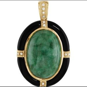 Jewelry - 14K Yellow Gold Onyx Jade 💎 Necklace Charm